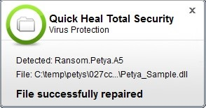 Fig 8. Prompt by Quick Heal Virus Protection